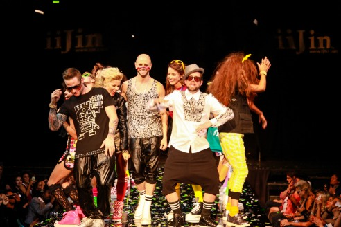 Celebrity models Blake Lewis, Kimberly Caldwell, Brian Friedman, Jonna Walsh & Elliott Yamin take a bow with the fashion models  - Igor Spektor Photographry