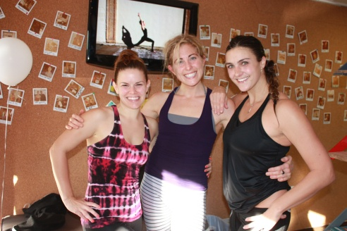 Spin instructors Jo Ann Medelson, Hester Van Owen, and Nicole Sciacca (owner) all smiles and still lovely after leading Endurance Ride at Hustle & Flow Fitness.