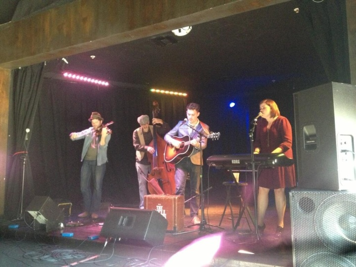 The Well Pennies singing on the Federal Bar stage in NOHO for Beatles Reimagined Release Party (photo: Rochelle Robinson)