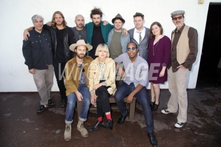 (Top Row) Radio personality Gary Calamar, musicians Wyatt Hull, Ceasar Augusto, Alex Ebert, Tim Weed, Bryan Vanderpool, Sarah Vanderpool, Tony Green (Bottom Row) musicians Nate Cole, Liska Cole and Anthony Watkins II at Beatles Reimagined Release Party at the Federal Bar in NOHO (photo: Paul Redmond)