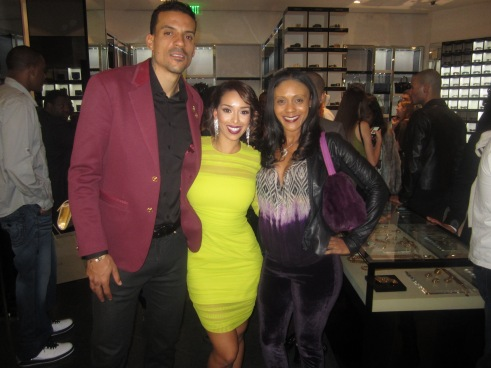 Matt Barnes, founder of Athletes vs. Cancer Foundation, Gloria Govin, and celebrity stylist, Michelle Stokes