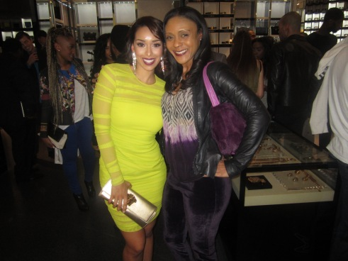 Gloria Govan and celebrity stylist, Michelle Stokes in Versace for champagne toast to Matt Barne's Athletes vs. Cancer