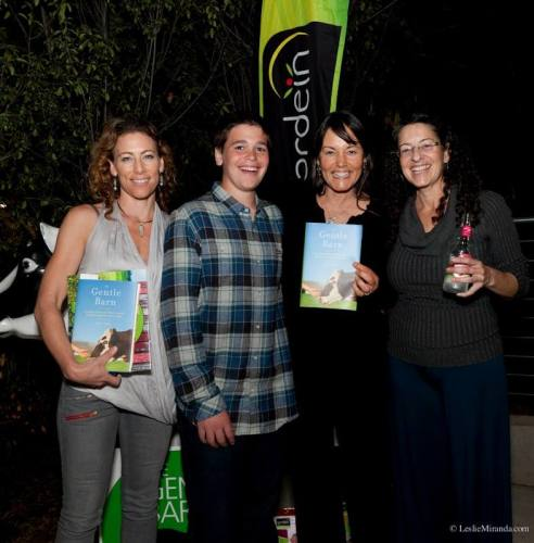 Rochelle Robinson, Jessie Laks, Ellie Laks, Nomi Isak at My Gentle Barn book launch hosted by Gardein at their Tasting Kitchen in Marina del Rey (photo: couresy of The Gentle Farm)