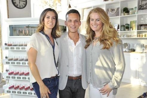 Leah Yari (cote co-founder and CEO), Jamie Feldshuh (cote Vice President of Business Development) and Mary Lennon (cote Co-Founder and President) at press preview launch party for cote flagship salon in Brentwood (photo credit: Donato Sardella/Getty Images for cote)