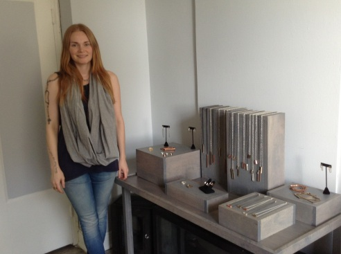Lizz Roberts in her studio with her LZZR Reck Collection (photo: Rochelle Robinson)