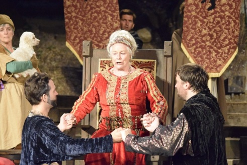 Theatricum artistic director Ellen Geer as Queen Lear with sons Goneril, played by Aaron Hendry, and Regan, played by Christopher W. Jones. (photo credit: Ean Flanders)