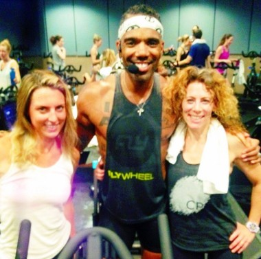 Melissa Curtin, co-founder of LaLaScoop, the incredible spin instrutor, Victor Self, and Rochelle Robinson, co-founder of LaLaScoop, at ClassPass LA launch at Flywheel in Hollywood