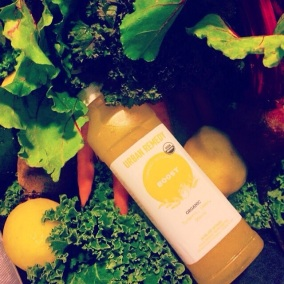 Tasty Urban Remedy organic juice on a bed of what makes it so yummy! (photo: courtesy of ClassPass)