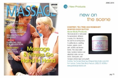 GoodBody Products new Comfrey, Tea Tree, and Rosemary Whipped Body Butter featured in Massage Magazine (photo: courtesy of GoodBody Products)