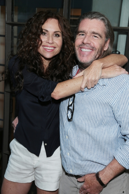 "Minnie Driver and author/lawyer Kevin Morris pose at the Kevin Morris: ""White Man's Problems"" Book Party held in Los Angeles, CA on Tuesday, June 3, 2014. (Alex J. Berliner/ABImages)"