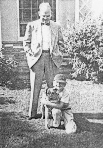 Author of The Bilko Athletic Club, Gaylon H. White, at age eight with his father, Rev. Hooper W. White, and dog, Mitzi, outside their Ontario, California home (photo: courtesy of www.TheBilkoAthleticClub.com)