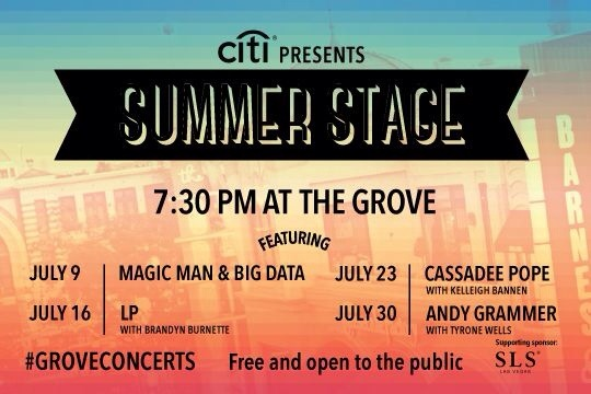 Catch Andy Grammer at The Grove's Summer Concert Series on 7/30 at 7:30 for free!