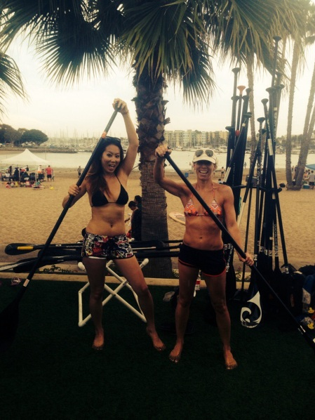 Travel Blogger, Jacki Ueng, and Rochelle Robinson, co-founder of LalaScoop after paddling in the rain at Pro SUP Shop in Marina del Rey