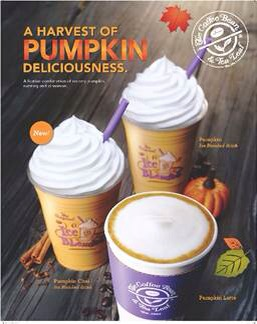 Coffee Bean &  Tea Leaf's Fall Harvest Limited Edition Beverages in Pumpkin & Butter Pecan (photos: courtesy of Coffe Bean & Tea Leaf)