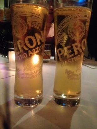 Two pints of Peroni Nastro Azzurro poured at Drago Centro for the inaugural launch of Italian Heritage Month with Peroni and IAMLA (photo: Rochelle Robinson)