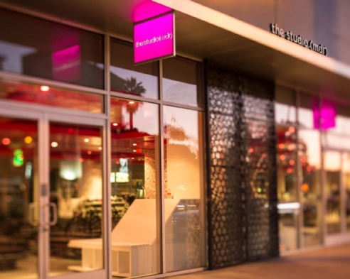 The Studio MDR (West) entrance aglow in hot pink from the street (photo: courtesy of The Studio MDR)