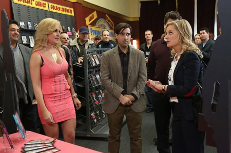 Mara Marini (left) on the hit show, Parks and Recreation: Bailout. (Photo credit: www.maramarini.com)