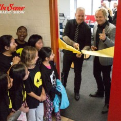 Westminster Elementary Students participating in their Adopt the Arts ribbon cutting ceremony with Carter Lay of The Carter Lay Charitable Fund and Matt Sorum, co-founder of Adopt The Arts (photo credit: RockwellUnScene Photos)