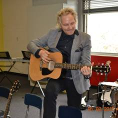Adopt the Arts, Matt Sorum, jamming in the new music room at Westminster Elementary School for ribbon cutting ceremony (photo credit: Mylissa Graves)