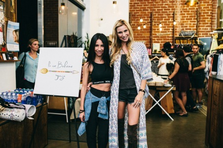 La Vie Boheme Yoga co-founders and designers, Yvette Charlton and Michaela Moryskova, at their hot yoga event at La Moda Yoga LA (photo credit: Jessica Castro Photography)