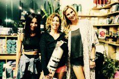 Rochelle Robinson, co-founder of LaLaScoop, with La Vie Boheme Yoga founders, Yvette Charlton and Michaela Moryskova at Modo Yoga LA (photo credit: Jennifer Castro Photography)