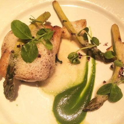 Local Halibut with Bloomsdale spinach, artichoke, asparagus, and spring garlic at The Larchmont. (Photo credit: Melissa Curtin)