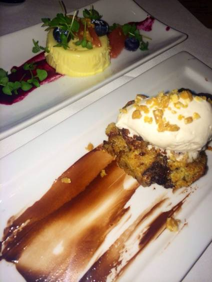 Bread Pudding and Panna Cotta with fruit bliss at The Larchmont. (Photo credit: Melissa Curtin)