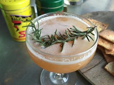 The Brown Derby cocktail with bourbon, ginger beer and rosemary sprig at Greenleaf Gourmet Chopshop . (Photo credit: Scott Bridges)
