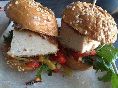 Sensational chicken sliders from Greenleaf Gourmet Chopshop. (Photo credit: Scott Bridges)