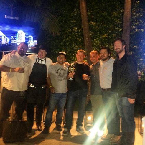 Walter Manzke (center) of Republique wins Cochon 555 in LA. (Photo credit: Melissa Curtin)