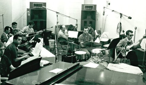 Wrecking Crew members at work at a Los Angeles studio. (Photo credit: NYTimes.com)