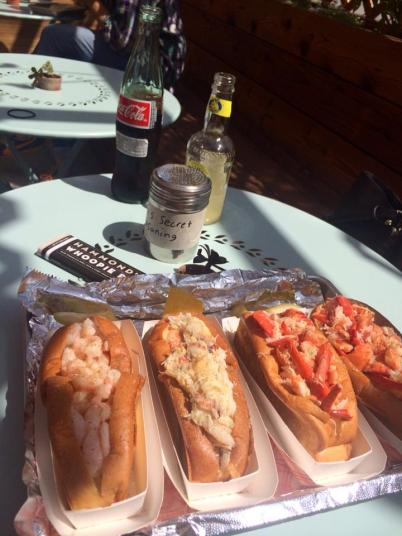 Take your pick or try them all - shrimp, crab, and lobster rolls in full size or half size. ( Photo credit: Melissa Curtin)