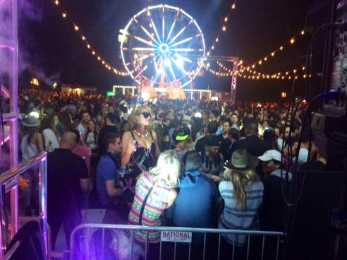 Paris and Nikki Hilton, Aaron Paul and his wife, and many more danced the night away at Coachella's Neon Carnival. (Photo credit: Melissa Curtin)