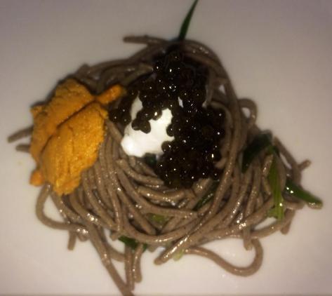 Bird's Nest - Caviar, buckwheat noodles, sea urchin, quail egg