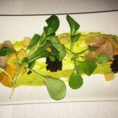 Kanpachi Carpaccio - uni, caviar, sweet chili avocado mousse, brioche