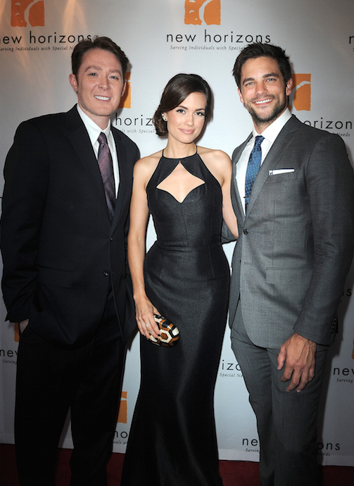 "Clay Aiken, Torrey DeVitto, and Brant Daugherty, Torrey DeVitto at the New Horizons ""Havana Nights"" Gala Fundraiser in Burbank, CA. (Photo credit: Josh Blanchard // Getty Images)"