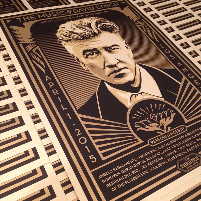 Shepard Fairey's latest David Lynch poster benefitting the David Lynch Foundation (Transcendental Meditation).