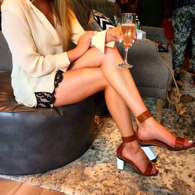 The lovely Payton from Hustle + Halcyon in her shoe creation at Tanya Heath. (Photo credit: Melissa Curtin)