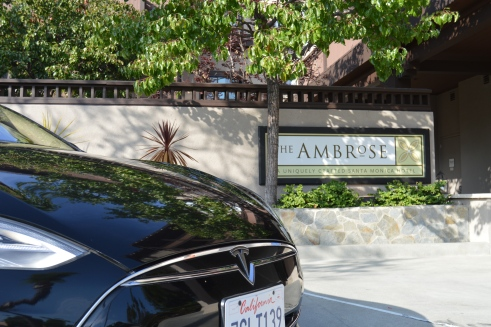 Tesla ready, Ambrose Hotel, has four electric charging stations, 2 for Tesla electric vehicles