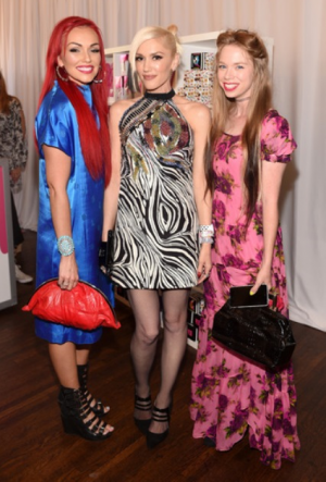 YouTube Star, Kandee Johnson, Gwen Stefani, and YouTube Star Bunny Meyer attend the Harajuku Lovers #PopElectric High Tea With BeautyCon. (Photo credit: Stefanie Keenan/Getty Images)