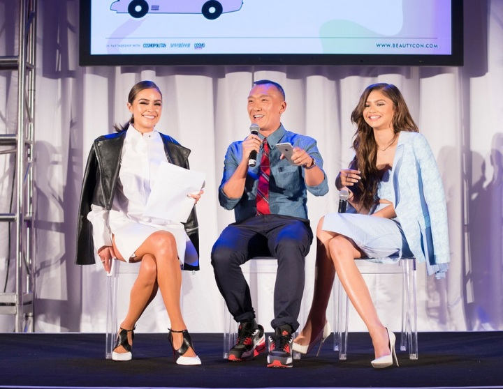Olivia Culpo moderating a panel with Joe Zee and Zendaya at the BeautyCon LA Festival. Photo credit: Michael Bezjian| Getty Images
