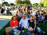 Dee Jay Robinson, Sydney Stokes and LaLaScoop co-founder, Rochelle Robinson, at LACMA Summer Jazz Nights with The Louis picnic set-up (photo credit: Elaine Wong)