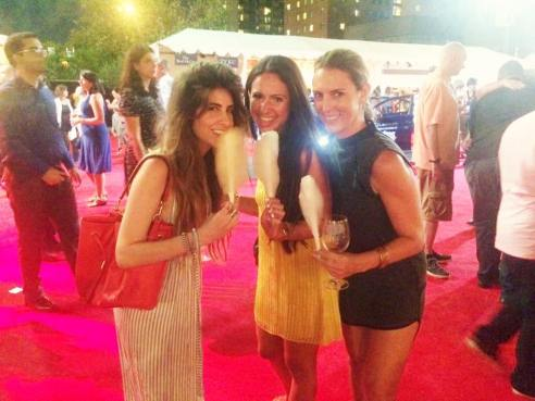 Angeleno Magazine's Robyn Deutsch, Variety Style Editor Jasmin Rosemberg, and LaLaScoop writer Melissa Curtin enjoying organic cotton candy thanks to Bon Puf at the Los Angeles Food and Wine Festival 2015.