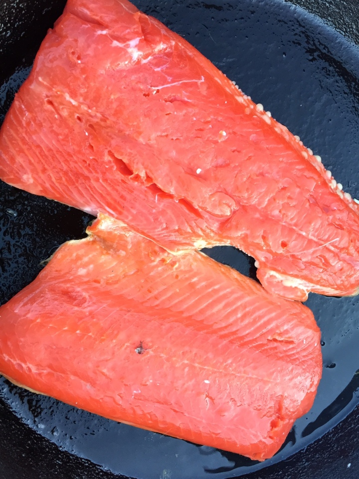 Grilled salmon, aka bear bait, aka last meal (Photo by Scott Bridges)