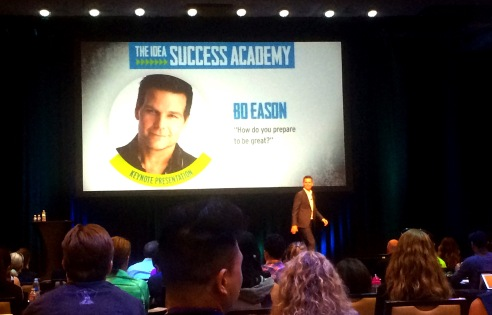Bo Eason, athlete, speaker, performer and author, at IDEA Wold Fitness Convention on Success Adamemy stage in Los Angeles (photo credit: Rochelle Robinson)