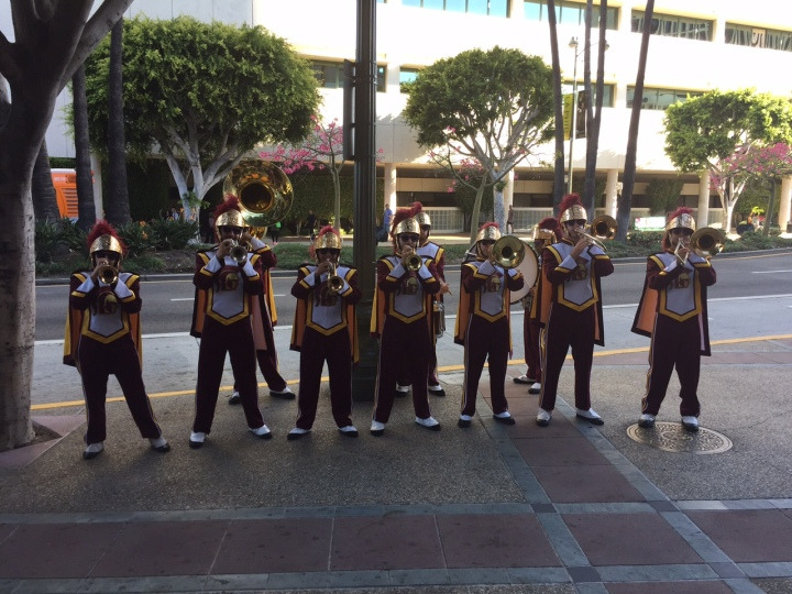 The USC marching band jams on Wilshire (Photo credit: Scott Bridges)