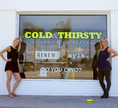 Brooke Rewa and Katie Kauffman, co-founders of Cold & Thirsty Juicery and Cryo Sauna in Culver City (photo: courtesy of Clover PR)