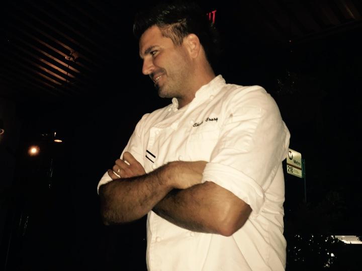 Chef Chris Crary entertains between courses (photo by Scott Bridges)