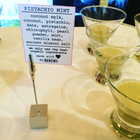 Pistachio Mint superfood Mylkshake sample served at Cold & Thirsty Beauty Cleanse Preview Party, October 22nd, 2015 (photo credit: Rochelle Robinson)