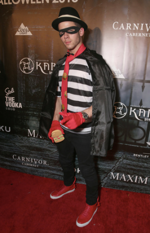 Nick Jonas dressed up as a Hamburglar at MAXIM Magazine's Official Halloween Party produced by Karma International, featuring a special performance by the heartthrob himself, on Saturday night in Los Angeles.
